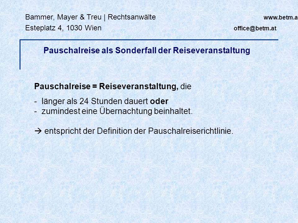 Bammer, Mayer & Treu   Rechtsanwälte www.betm.at Esteplatz 4, 1030 Wien office@betm.at VO (EG) Nr 261/2004 (EU-Flugverspätungs-VO): Nichtbeförderung Flug findet statt, Fluggast wird aber nicht mittransportiert (zB wegen Überbuchung) Rechtsfolgen: - Unterstützungsleistungen - Betreuungsleistungen - Ausgleichsleistungen Rechtsfolgen von Leistungsstörungen