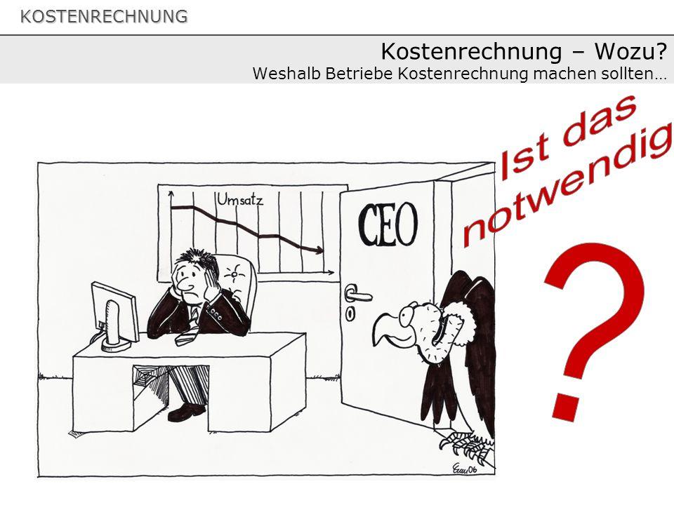 KOSTENRECHNUNG Kostenrechnung – Wozu? Weshalb Betriebe Kostenrechnung machen sollten…