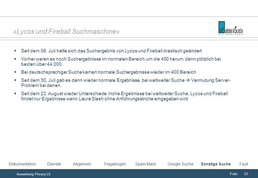 Folie23 Auswertung Privacy LS »Lycos und Fireball Suchmaschine« Seit dem 06.