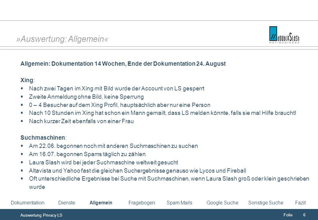 Folie6 Auswertung Privacy LS »Auswertung: Allgemein« Allgemein: Dokumentation 14 Wochen, Ende der Dokumentation 24.