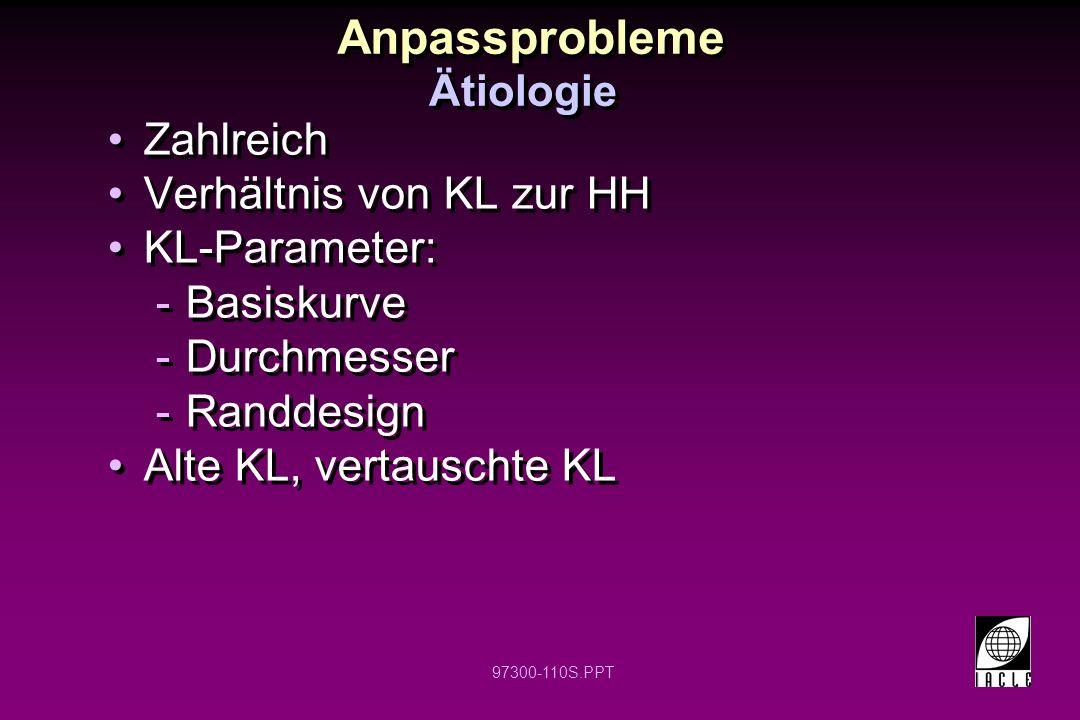97300-110S.PPT Anpassprobleme Zahlreich Verhältnis von KL zur HH KL-Parameter: -Basiskurve -Durchmesser -Randdesign Alte KL, vertauschte KL Zahlreich