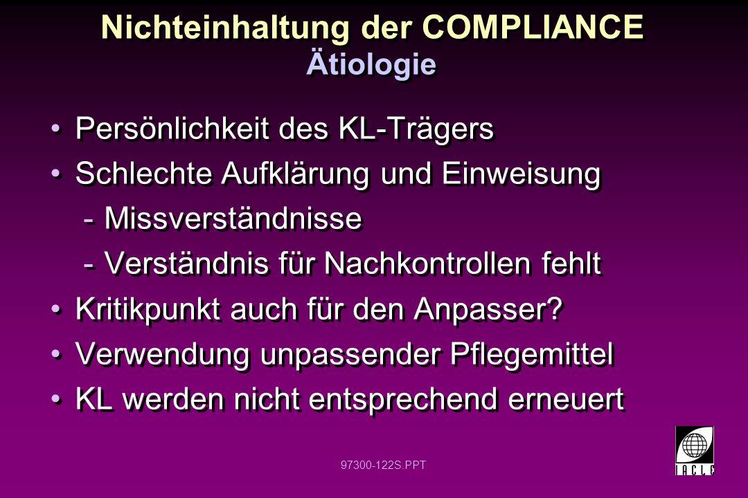 97300-122S.PPT Nichteinhaltung der COMPLIANCE Persönlichkeit des KL-Trägers Schlechte Aufklärung und Einweisung -Missverständnisse -Verständnis für Nachkontrollen fehlt Kritikpunkt auch für den Anpasser.