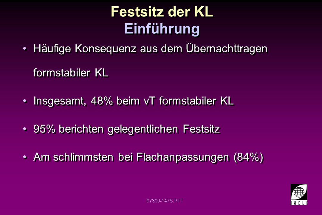 97300-147S.PPT Festsitz der KL Einführung Häufige Konsequenz aus dem Übernachttragen formstabiler KL Insgesamt, 48% beim vT formstabiler KL 95% berich