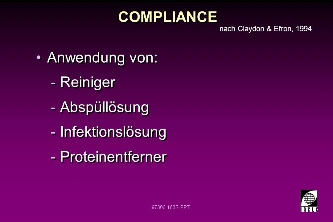 97300-163S.PPT COMPLIANCE Anwendung von: -Reiniger -Abspüllösung -Infektionslösung -Proteinentferner Anwendung von: -Reiniger -Abspüllösung -Infektion