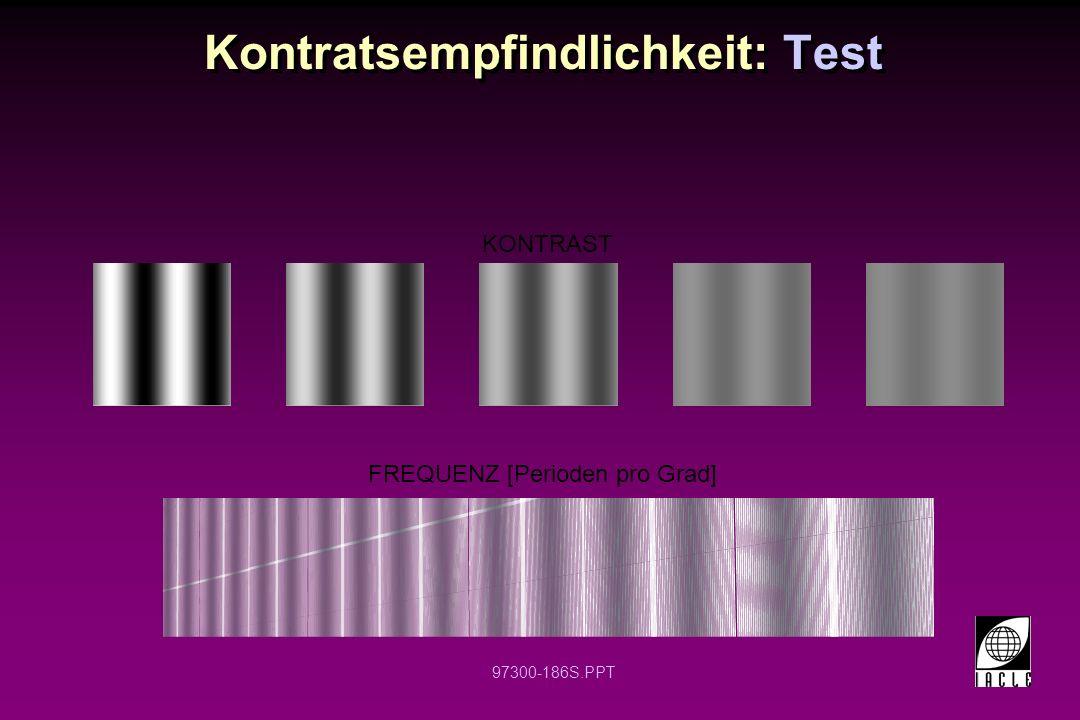 97300-186S.PPT Kontratsempfindlichkeit: Test KONTRAST FREQUENZ [Perioden pro Grad]