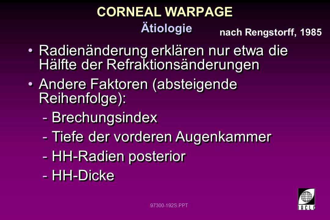 97300-192S.PPT CORNEAL WARPAGE Ätiologie Radienänderung erklären nur etwa die Hälfte der Refraktionsänderungen Andere Faktoren (absteigende Reihenfolg