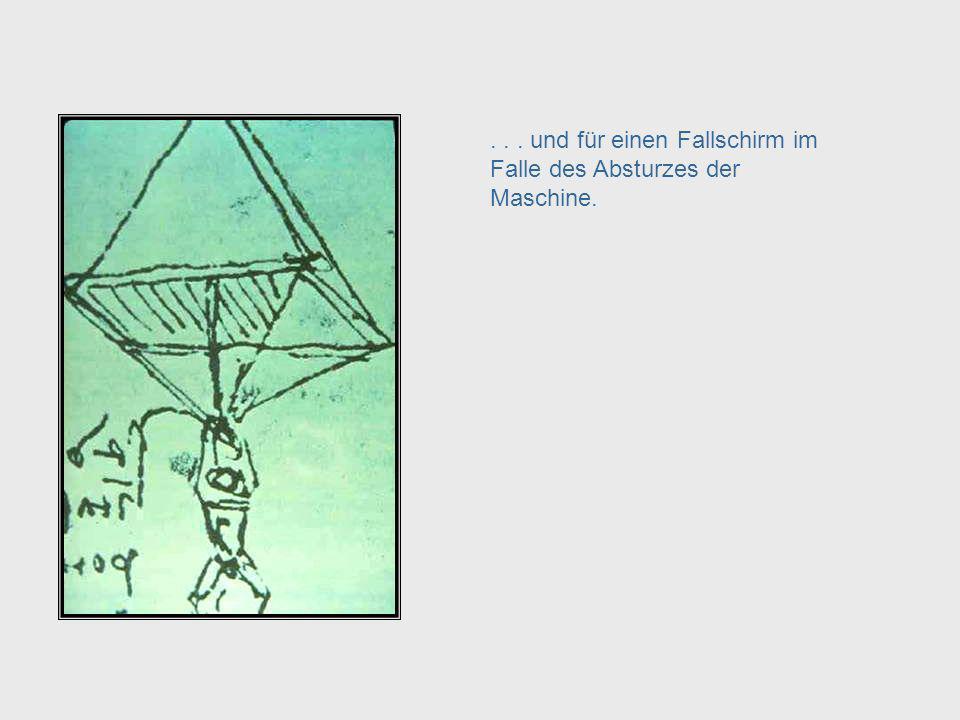 ..der Flugzeugkonstruktion. Dies ist seine Skizze für eine Flugmaschine aus dem 16.