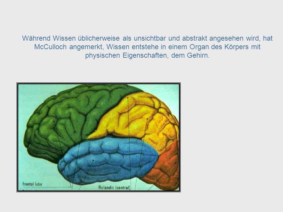 Epistomologie = Erkenntnislehre McCulloch sah eine Verbindung zwischen der Naturwissenschaft Neurophysiologie und dem Epistomologie genannten Zweig der Philosophie, der Erkenntnislehre study of knowldge.
