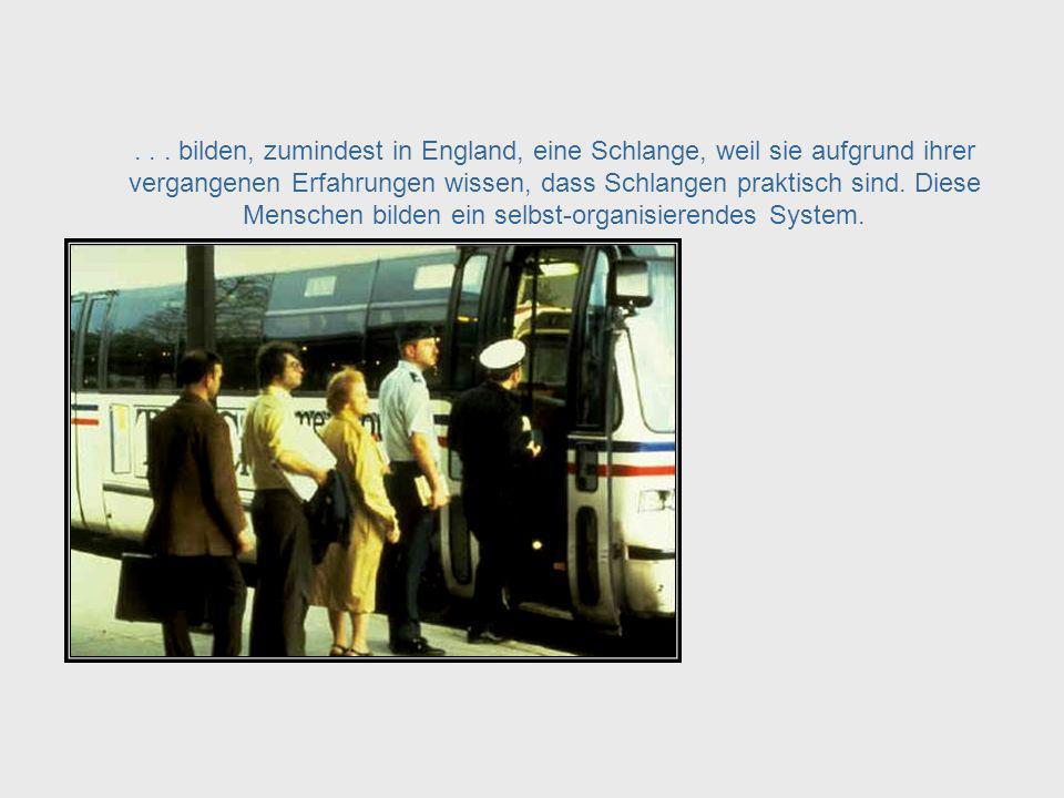 Zum Beispiel: Eine nicht organisierte Gruppe von Menschen die auf einen Bus warten... Waiting in Line
