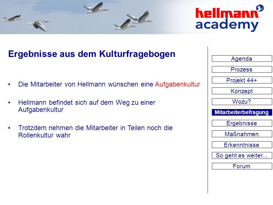 Ergebnisse aus dem Kulturfragebogen Die Mitarbeiter von Hellmann wünschen eine Aufgabenkultur Hellmann befindet sich auf dem Weg zu einer Aufgabenkult