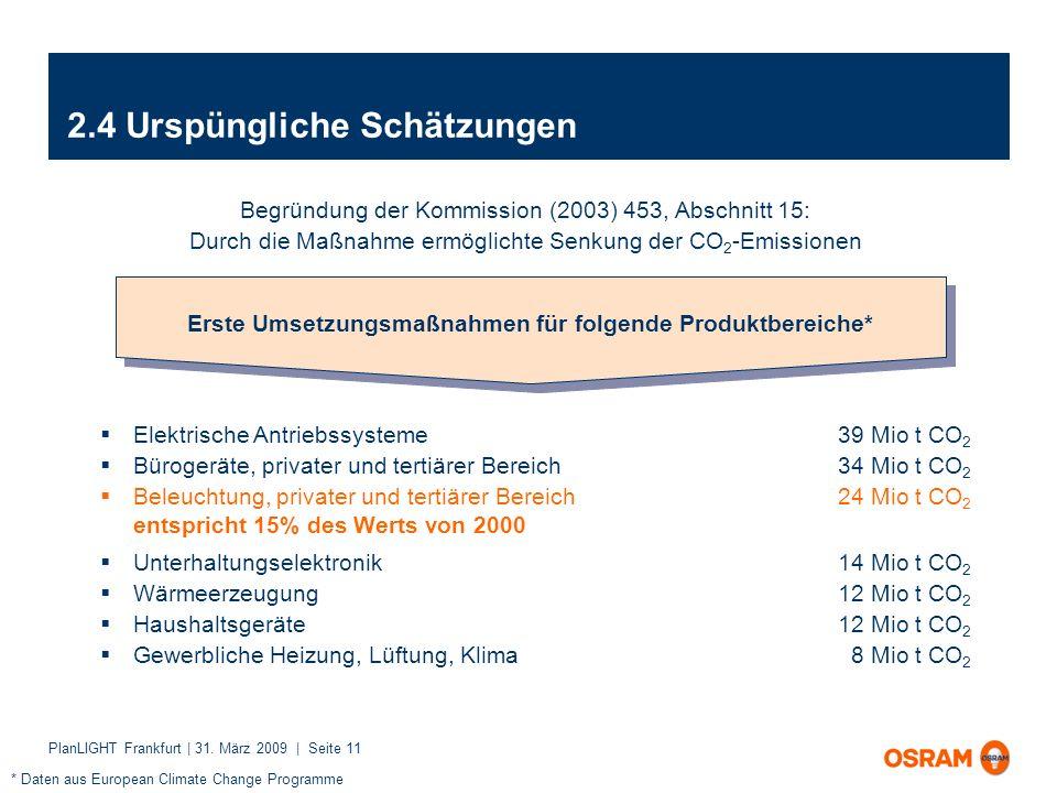 PlanLIGHT Frankfurt | 31. März 2009 | Seite 11 2.4 Urspüngliche Schätzungen Begründung der Kommission (2003) 453, Abschnitt 15: Durch die Maßnahme erm