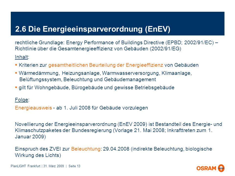 PlanLIGHT Frankfurt | 31. März 2009 | Seite 13 2.6 Die Energieeinsparverordnung (EnEV) rechtliche Grundlage: Energy Performance of Buildings Directive