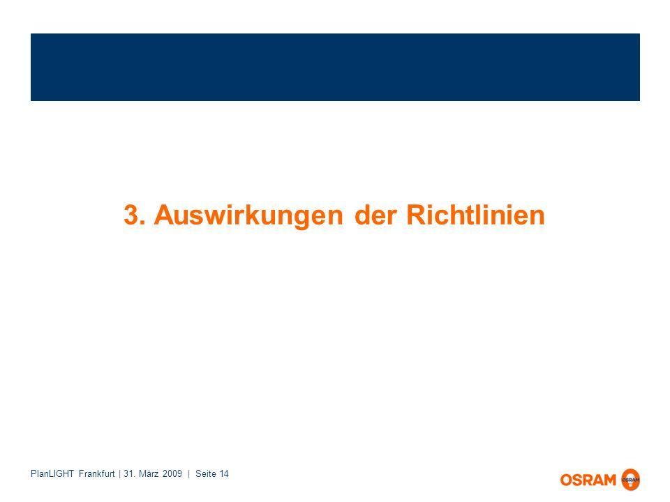 PlanLIGHT Frankfurt | 31. März 2009 | Seite 14 3. Auswirkungen der Richtlinien