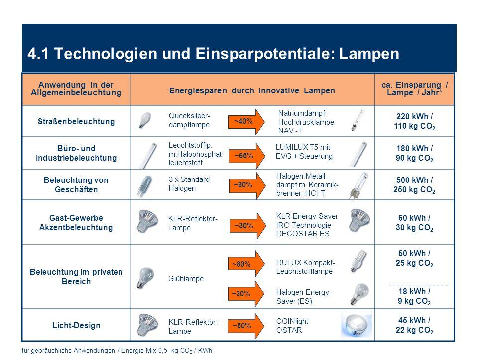 PlanLIGHT Frankfurt | 31. März 2009 | Seite 19 4.1 Technologien und Einsparpotentiale: Lampen für gebräuchliche Anwendungen / Energie-Mix 0,5 kg CO 2