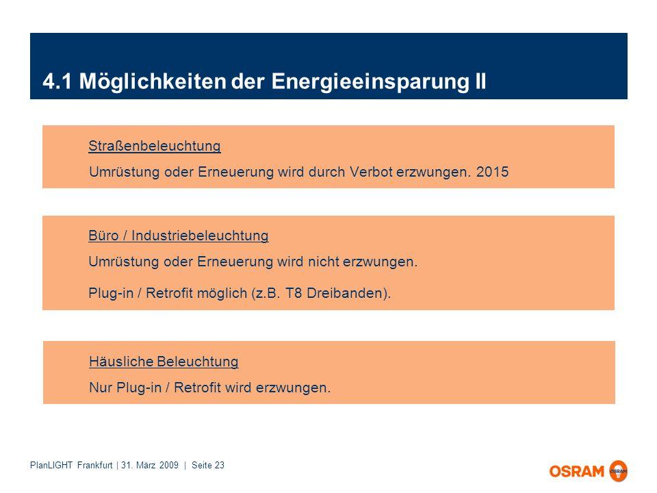 PlanLIGHT Frankfurt | 31. März 2009 | Seite 23 4.1 Möglichkeiten der Energieeinsparung II Straßenbeleuchtung Umrüstung oder Erneuerung wird durch Verb