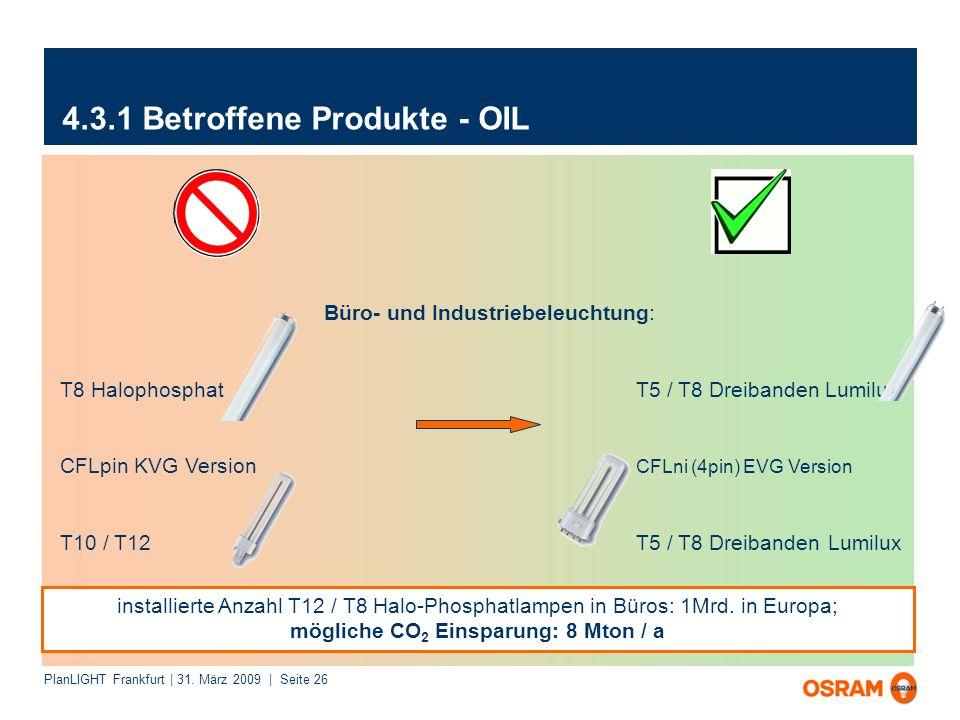 PlanLIGHT Frankfurt | 31. März 2009 | Seite 26 4.3.1 Betroffene Produkte - OIL Büro- und Industriebeleuchtung: T8 HalophosphatT5 / T8 Dreibanden Lumil