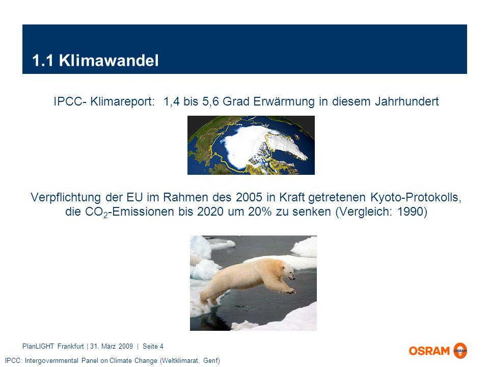 PlanLIGHT Frankfurt | 31. März 2009 | Seite 4 1.1 Klimawandel IPCC- Klimareport: 1,4 bis 5,6 Grad Erwärmung in diesem Jahrhundert Verpflichtung der EU