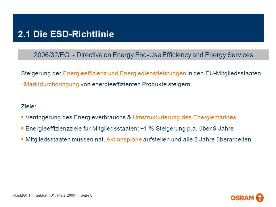 PlanLIGHT Frankfurt | 31. März 2009 | Seite 8 2.1 Die ESD-Richtlinie 2006/32/EG - Directive on Energy End-Use Efficiency and Energy Services Steigerun