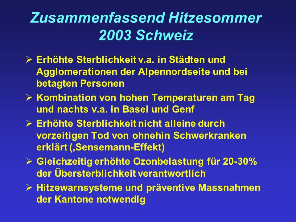 Zusammenfassend Hitzesommer 2003 Schweiz Erhöhte Sterblichkeit v.a. in Städten und Agglomerationen der Alpennordseite und bei betagten Personen Kombin