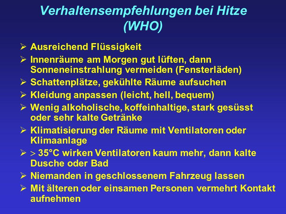Verhaltensempfehlungen bei Hitze (WHO) Ausreichend Flüssigkeit Innenräume am Morgen gut lüften, dann Sonneneinstrahlung vermeiden (Fensterläden) Schat