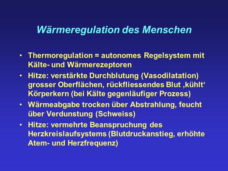Wärmeregulation des Menschen Thermoregulation = autonomes Regelsystem mit Kälte- und Wärmerezeptoren Hitze: verstärkte Durchblutung (Vasodilatation) g