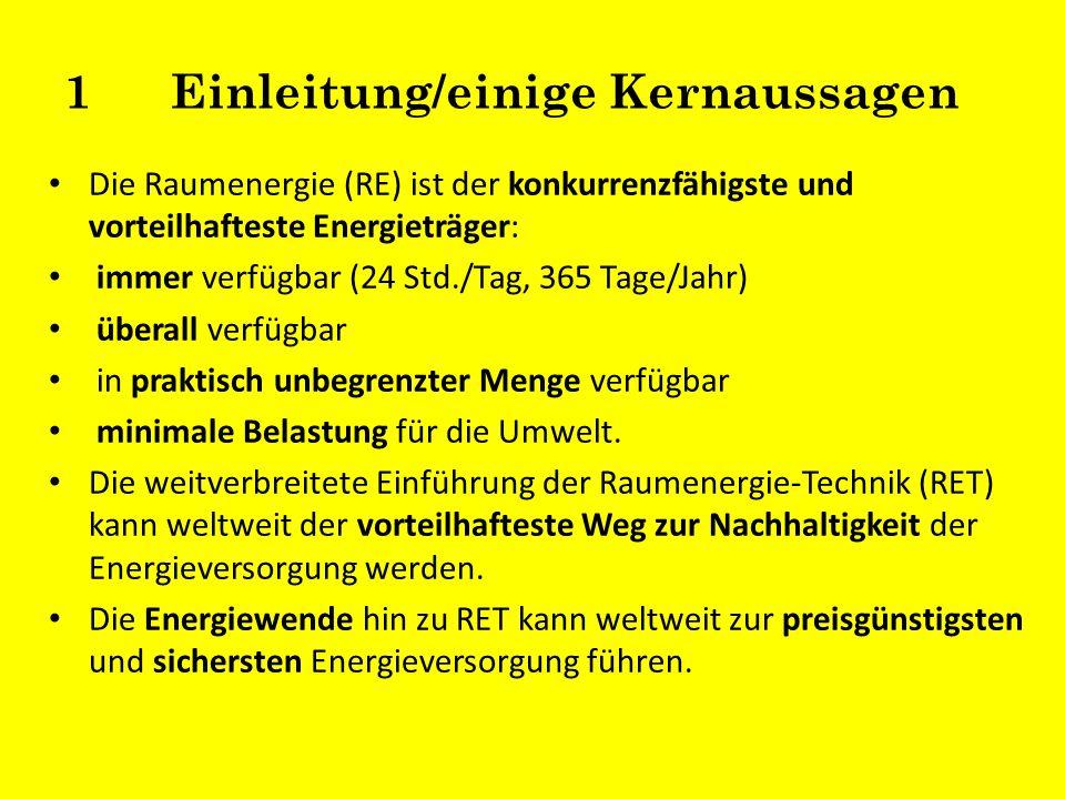 1Einleitung/einige Kernaussagen Die Raumenergie (RE) ist der konkurrenzfähigste und vorteilhafteste Energieträger: immer verfügbar (24 Std./Tag, 365 T