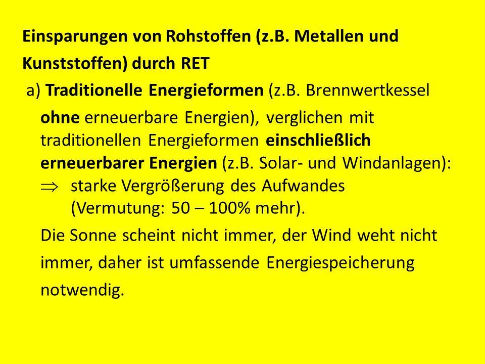 Einsparungen von Rohstoffen (z.B. Metallen und Kunststoffen) durch RET a) Traditionelle Energieformen (z.B. Brennwertkessel ohne erneuerbare Energien)
