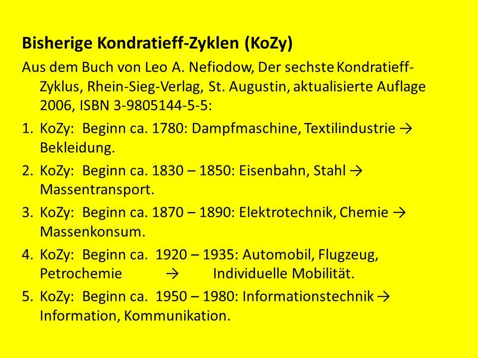 Bisherige Kondratieff-Zyklen (KoZy) Aus dem Buch von Leo A. Nefiodow, Der sechste Kondratieff- Zyklus, Rhein-Sieg-Verlag, St. Augustin, aktualisierte