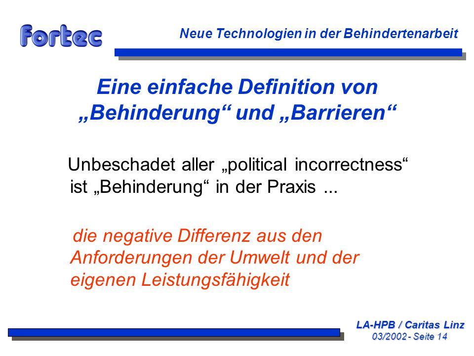 LA-HPB / Caritas Linz 03/2002 - Seite 14 Neue Technologien in der Behindertenarbeit Eine einfache Definition von Behinderung und Barrieren Unbeschadet