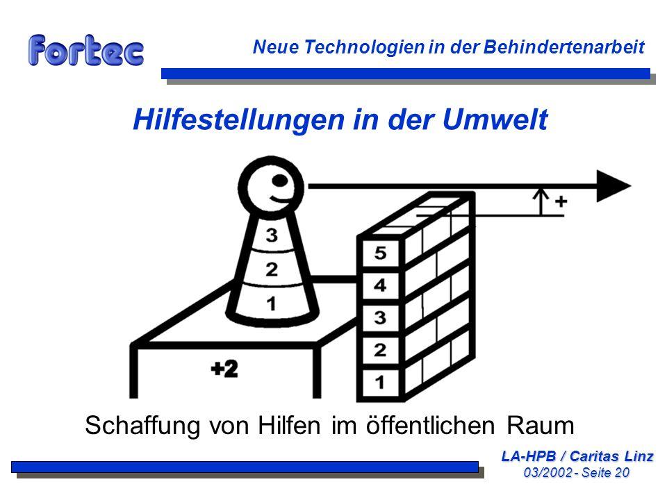 LA-HPB / Caritas Linz 03/2002 - Seite 20 Neue Technologien in der Behindertenarbeit Hilfestellungen in der Umwelt Schaffung von Hilfen im öffentlichen