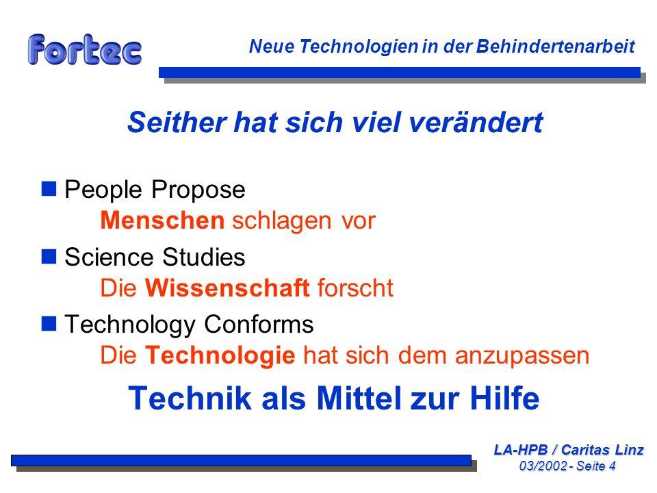 LA-HPB / Caritas Linz 03/2002 - Seite 35 Neue Technologien in der Behindertenarbeit Eingabegeräte: Typische Schalter nGroßflächige Taster nNeige- und Beuge-Schalter nSaug-Blase-Schalter nLidschlagschalter