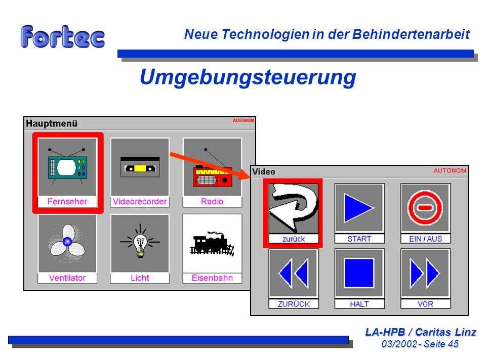 LA-HPB / Caritas Linz 03/2002 - Seite 45 Neue Technologien in der Behindertenarbeit Umgebungsteuerung