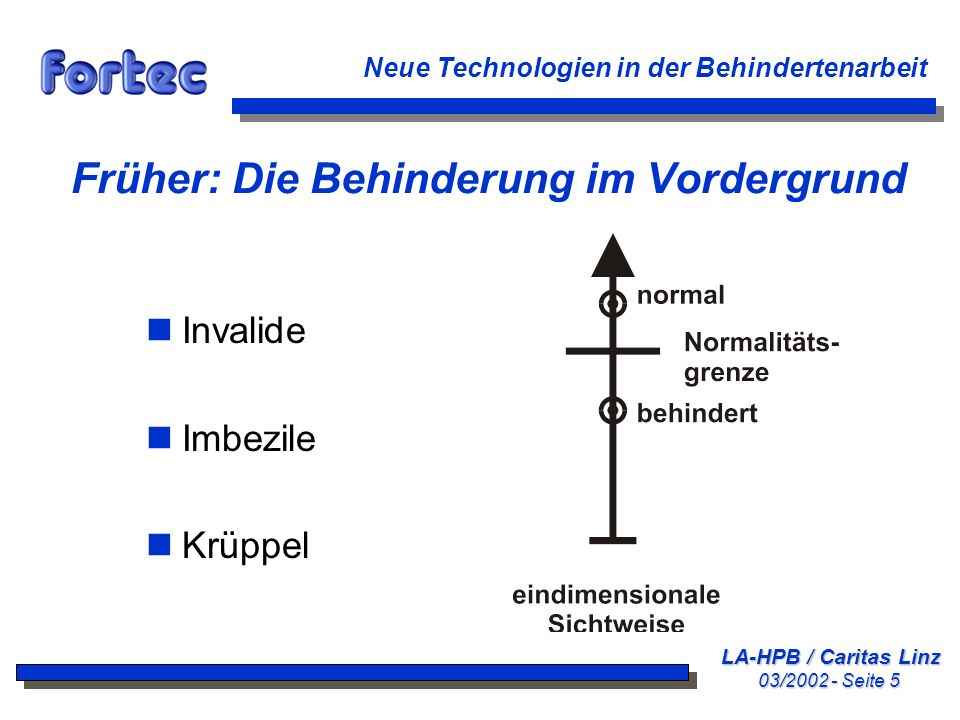 LA-HPB / Caritas Linz 03/2002 - Seite 6 Neue Technologien in der Behindertenarbeit Mangeldefinition und Defektologie Wir widmeten den Behinderungen viel zu viel Aufmerksamkeit und beachteten viel zu wenig, was intakt oder erhalten geblieben war.