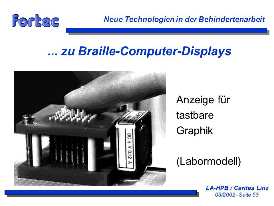 LA-HPB / Caritas Linz 03/2002 - Seite 53 Neue Technologien in der Behindertenarbeit... zu Braille-Computer-Displays Anzeige für tastbare Graphik (Labo