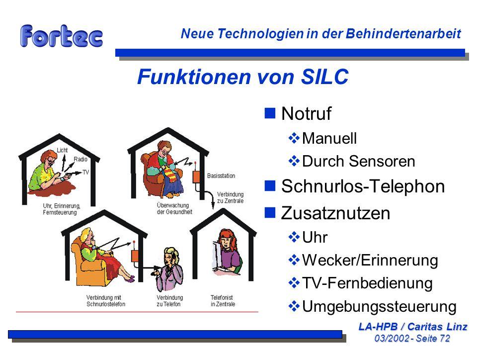 LA-HPB / Caritas Linz 03/2002 - Seite 72 Neue Technologien in der Behindertenarbeit Funktionen von SILC nNotruf Manuell Durch Sensoren nSchnurlos-Tele