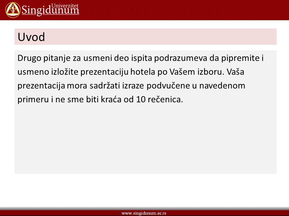 Drugo pitanje Ein Hotel beschreiben Willkommen im Hotel Balkan.