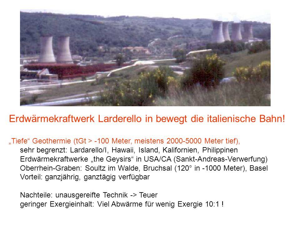 Erdwärmekraftwerk Larderello in bewegt die italienische Bahn.