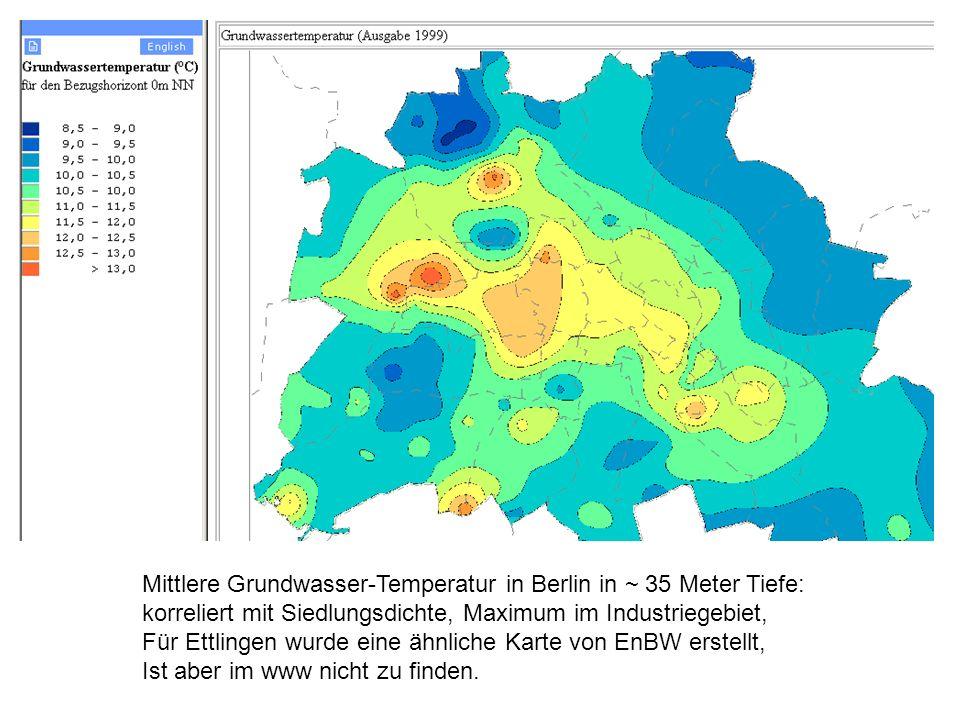 Mittlere Grundwasser-Temperatur in Berlin in ~ 35 Meter Tiefe: korreliert mit Siedlungsdichte, Maximum im Industriegebiet, Für Ettlingen wurde eine ähnliche Karte von EnBW erstellt, Ist aber im www nicht zu finden.