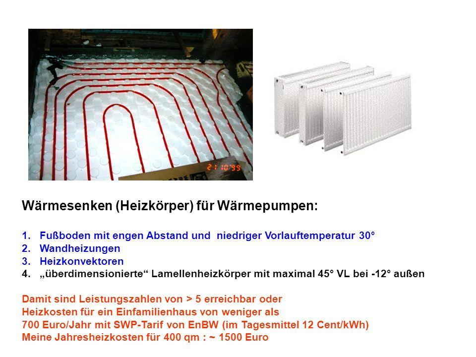 Wärmesenken (Heizkörper) für Wärmepumpen: 1.Fußboden mit engen Abstand und niedriger Vorlauftemperatur 30° 2.Wandheizungen 3.Heizkonvektoren 4.überdimensionierte Lamellenheizkörper mit maximal 45° VL bei -12° außen Damit sind Leistungszahlen von > 5 erreichbar oder Heizkosten für ein Einfamilienhaus von weniger als 700 Euro/Jahr mit SWP-Tarif von EnBW (im Tagesmittel 12 Cent/kWh) Meine Jahresheizkosten für 400 qm : ~ 1500 Euro