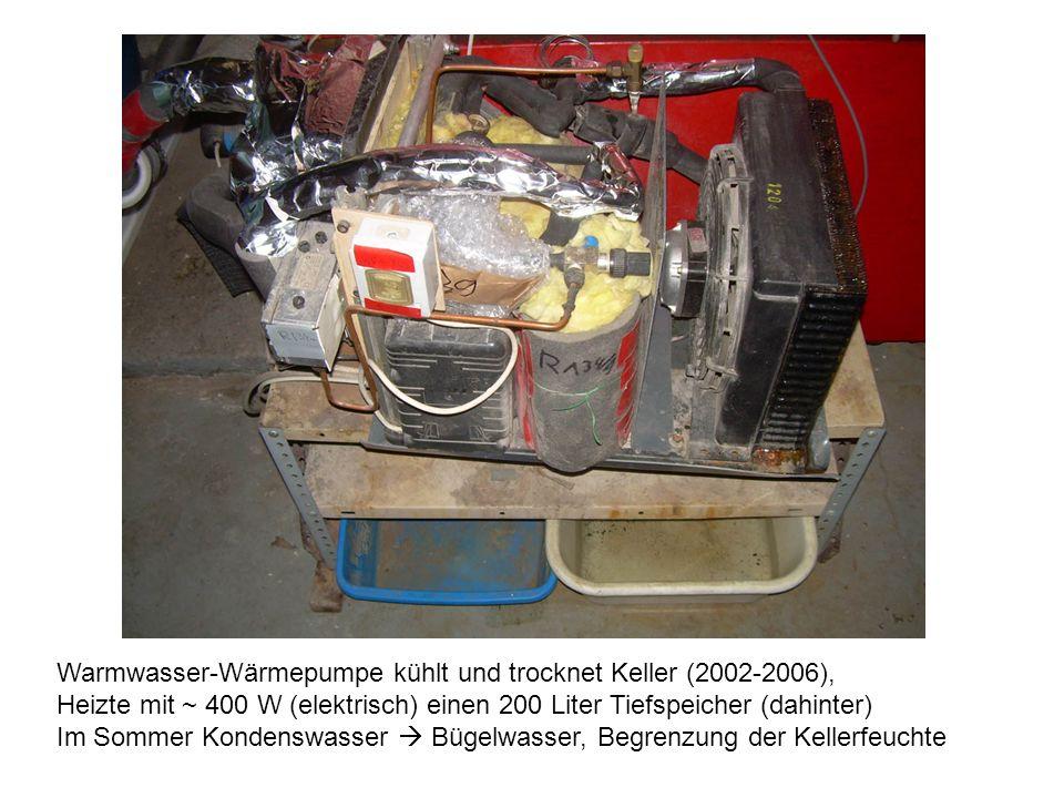 Warmwasser-Wärmepumpe kühlt und trocknet Keller (2002-2006), Heizte mit ~ 400 W (elektrisch) einen 200 Liter Tiefspeicher (dahinter) Im Sommer Kondenswasser Bügelwasser, Begrenzung der Kellerfeuchte