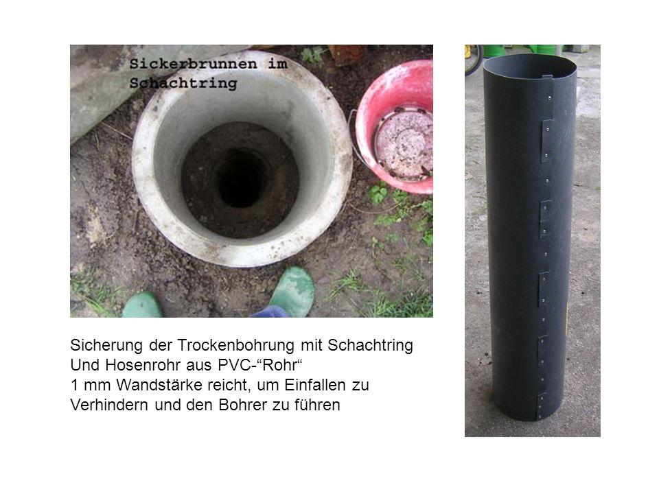 Sicherung der Trockenbohrung mit Schachtring Und Hosenrohr aus PVC-Rohr 1 mm Wandstärke reicht, um Einfallen zu Verhindern und den Bohrer zu führen