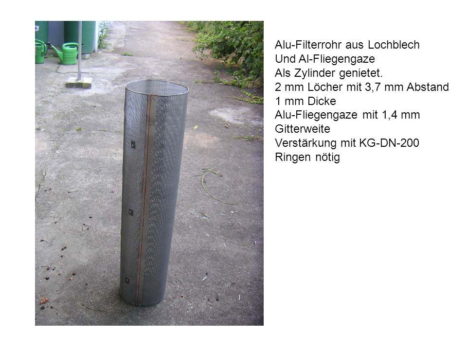 Alu-Filterrohr aus Lochblech Und Al-Fliegengaze Als Zylinder genietet.