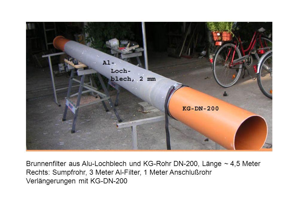Brunnenfilter aus Alu-Lochblech und KG-Rohr DN-200, Länge ~ 4,5 Meter Rechts: Sumpfrohr, 3 Meter Al-Filter, 1 Meter Anschlußrohr Verlängerungen mit KG-DN-200