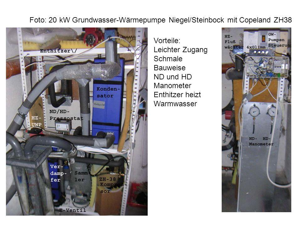 Foto: 20 kW Grundwasser-Wärmepumpe Niegel/Steinbock mit Copeland ZH38 Vorteile: Leichter Zugang Schmale Bauweise ND und HD Manometer Enthitzer heizt Warmwasser