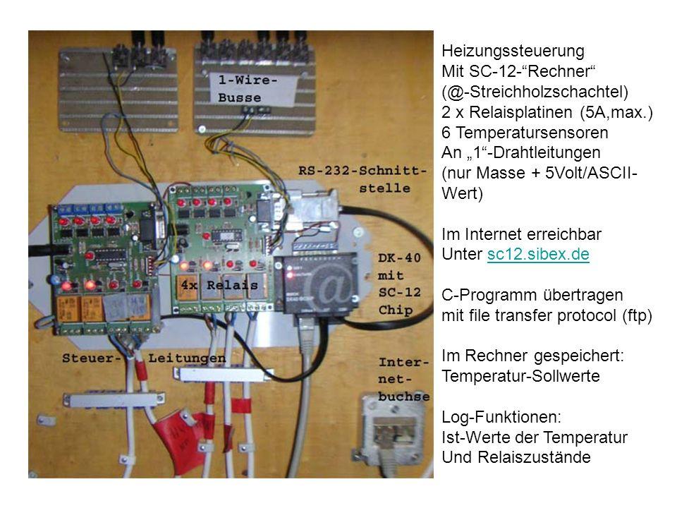 Heizungssteuerung Mit SC-12-Rechner (@-Streichholzschachtel) 2 x Relaisplatinen (5A,max.) 6 Temperatursensoren An 1-Drahtleitungen (nur Masse + 5Volt/ASCII- Wert) Im Internet erreichbar Unter sc12.sibex.desc12.sibex.de C-Programm übertragen mit file transfer protocol (ftp) Im Rechner gespeichert: Temperatur-Sollwerte Log-Funktionen: Ist-Werte der Temperatur Und Relaiszustände