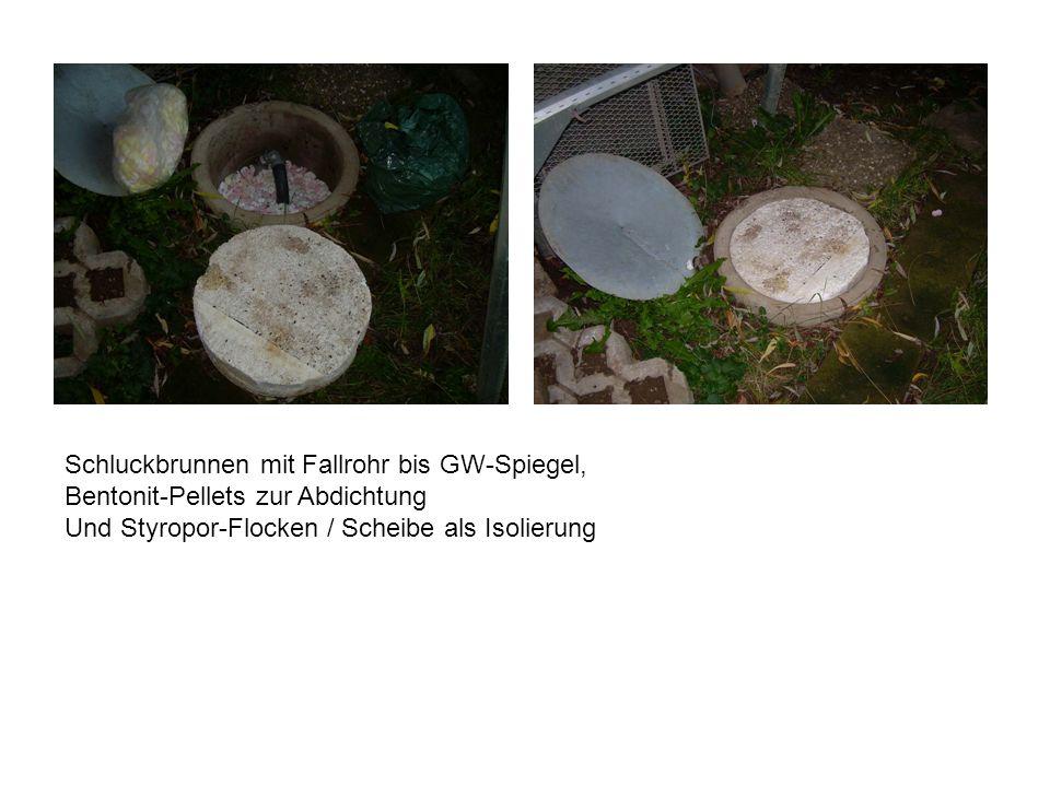 Schluckbrunnen mit Fallrohr bis GW-Spiegel, Bentonit-Pellets zur Abdichtung Und Styropor-Flocken / Scheibe als Isolierung