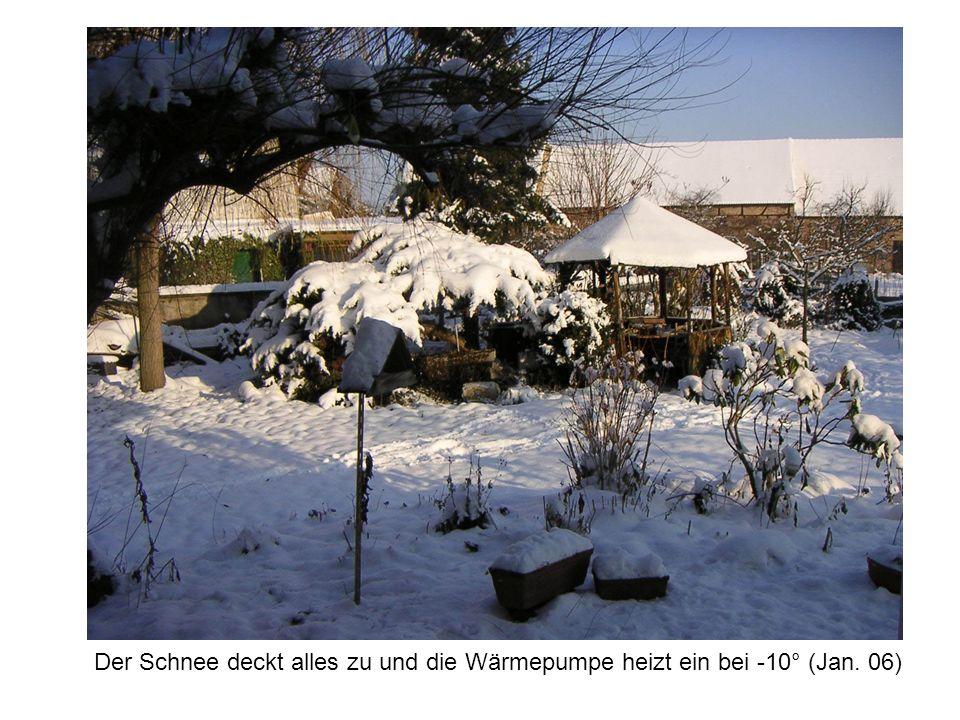 Der Schnee deckt alles zu und die Wärmepumpe heizt ein bei -10° (Jan. 06)