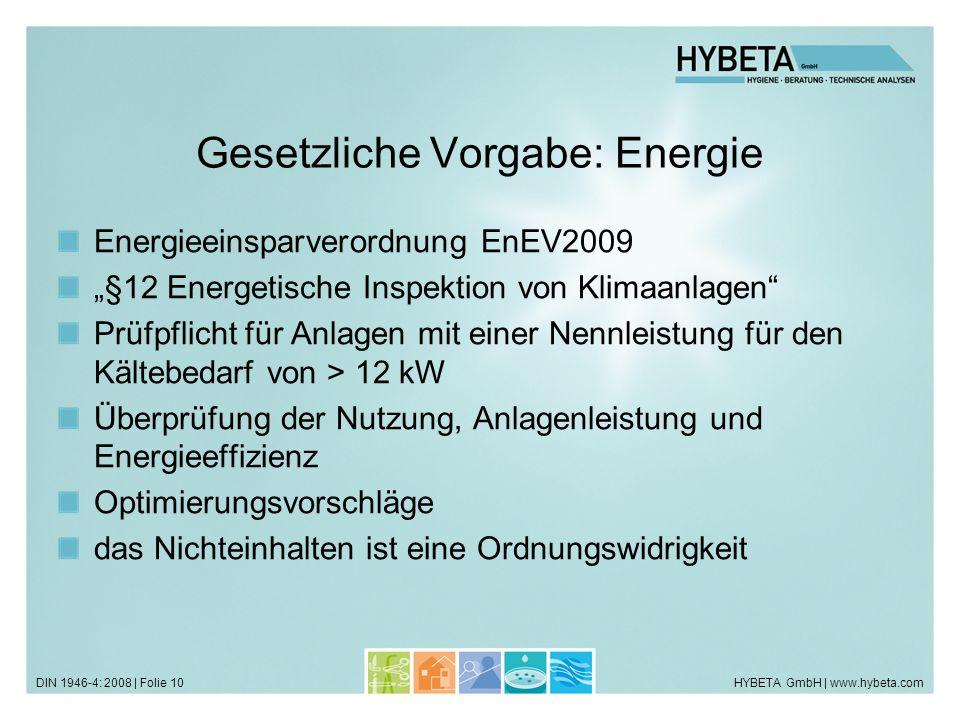HYBETA GmbH | www.hybeta.comDIN 1946-4: 2008 | Folie 10 Gesetzliche Vorgabe: Energie Energieeinsparverordnung EnEV2009 §12 Energetische Inspektion von