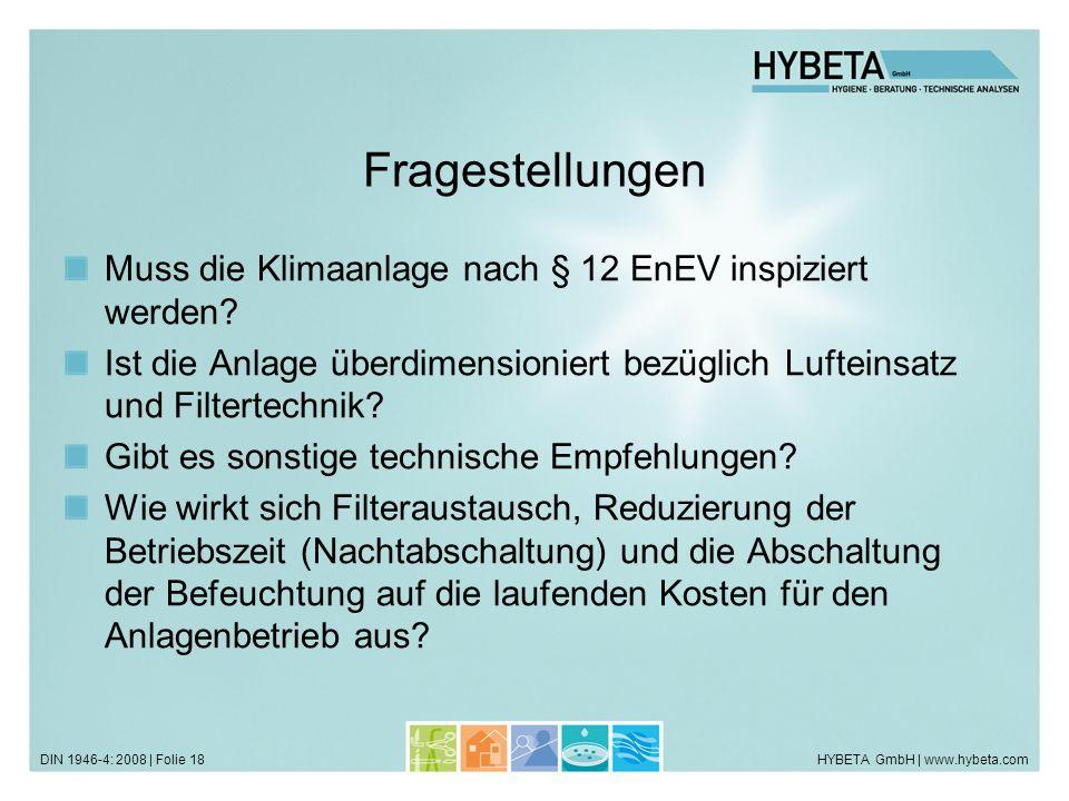 HYBETA GmbH | www.hybeta.comDIN 1946-4: 2008 | Folie 18 Fragestellungen Muss die Klimaanlage nach § 12 EnEV inspiziert werden? Ist die Anlage überdime
