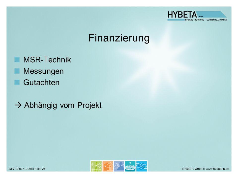 HYBETA GmbH | www.hybeta.comDIN 1946-4: 2008 | Folie 26 Finanzierung MSR-Technik Messungen Gutachten Abhängig vom Projekt